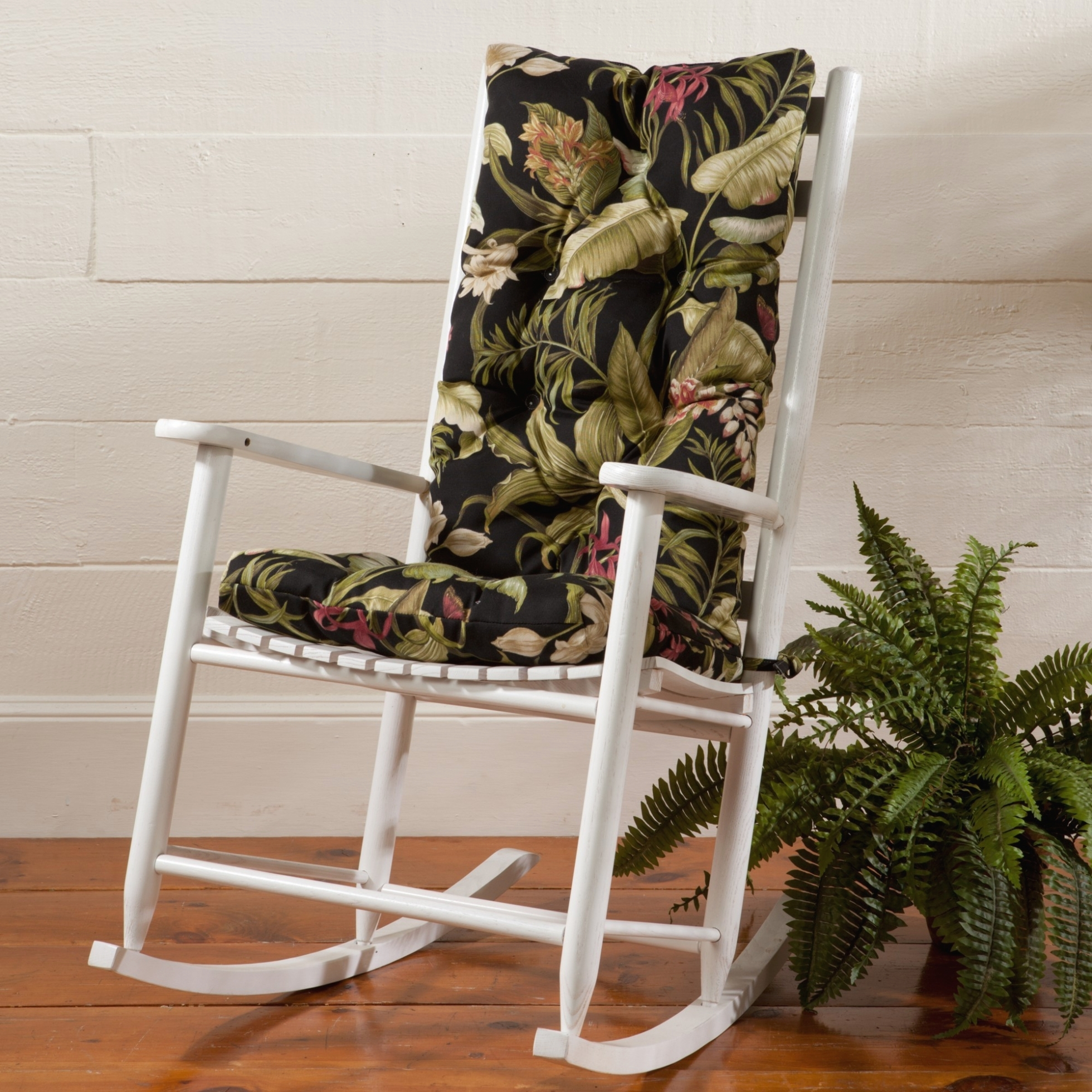 Furniture: White Wooden Indoor Rocking Chairs With Green Leaves Pertaining To Outdoor Rocking Chairs With Cushions (#7 of 15)
