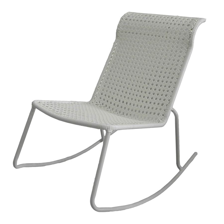 Garden Treasures Jewel Point White Steel Stackable Patio Rocking Intended For Stackable Patio Rocking Chairs (View 6 of 15)