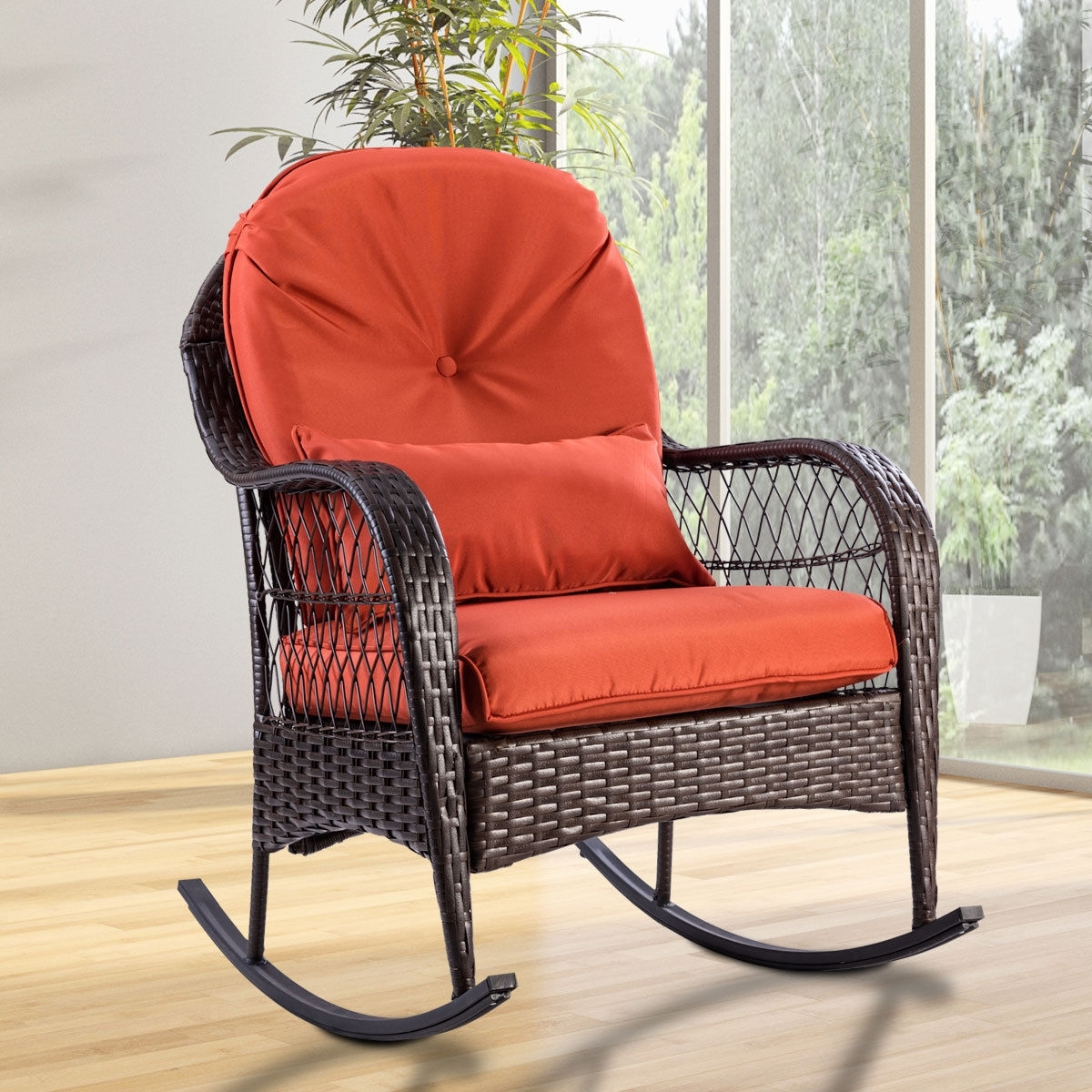 Giantex Patio Rattan Wicker Rocking Chair Modern Porch Deck Rocker With Regard To Padded Patio Rocking Chairs (#10 of 15)