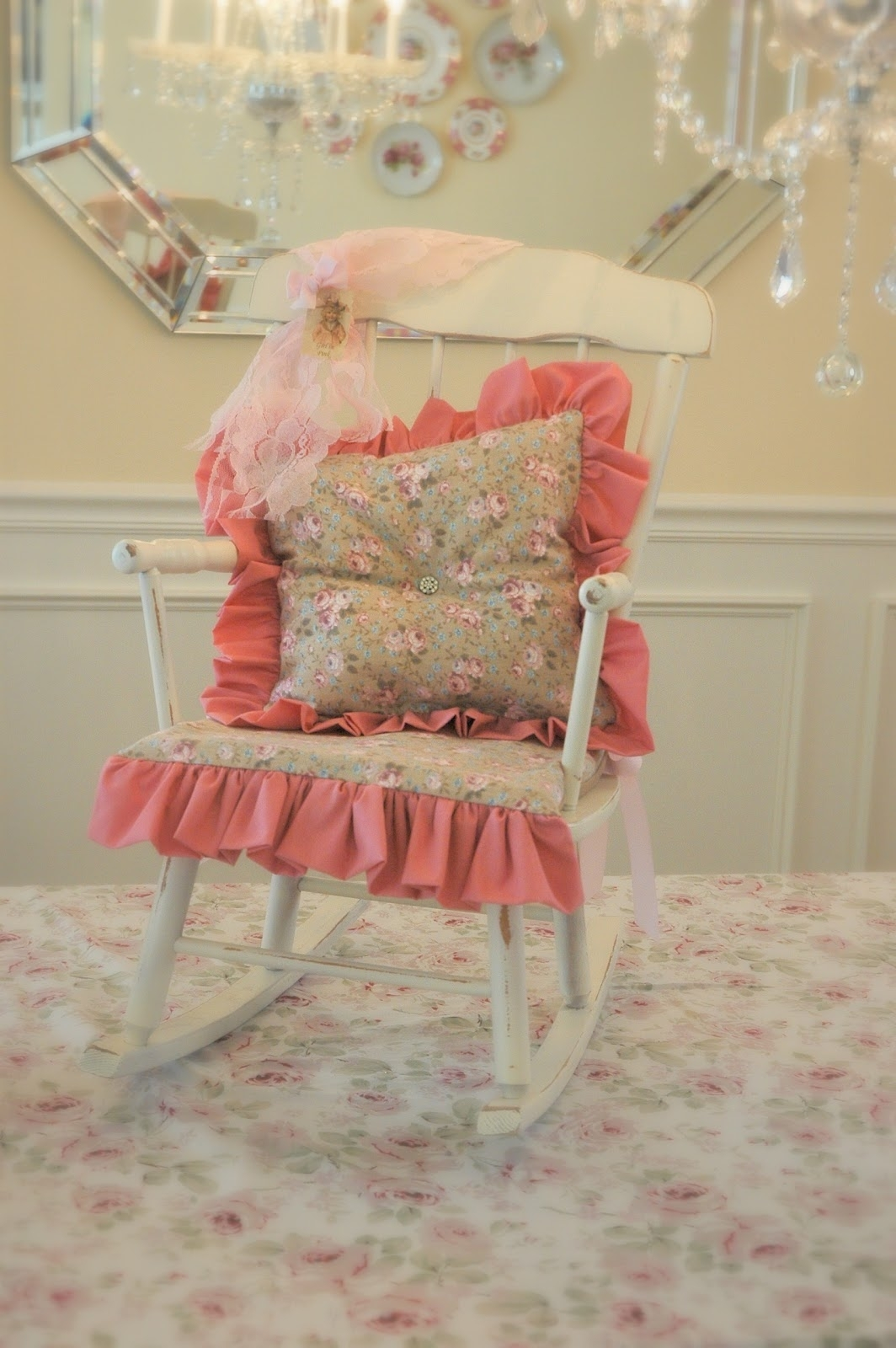 Girl In Pink: Ruffles, Roses And Rhinestones – A Rocking Chair Makeover For Rocking Chairs At Roses (View 9 of 15)