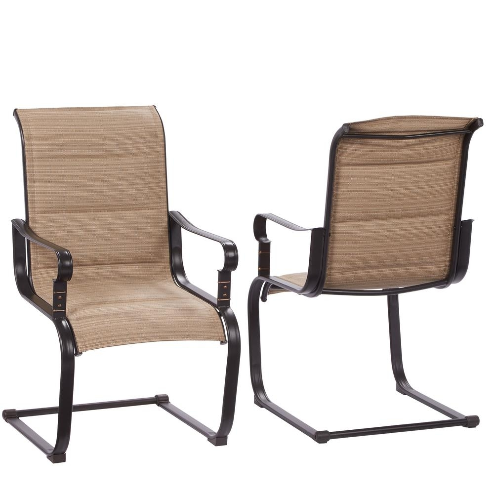 Hampton Bay Belleville Rocking Padded Sling Outdoor Dining Chairs (2 Intended For Patio Sling Rocking Chairs (View 2 of 15)