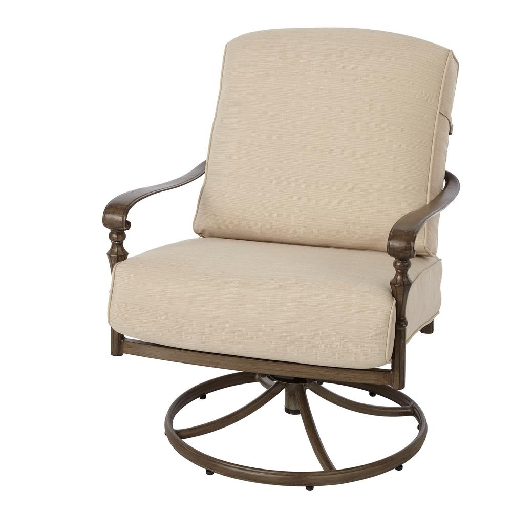 Hampton Bay Cavasso Swivel Rocking Metal Outdoor Lounge Chair With Pertaining To Patio Rocking Swivel Chairs (#9 of 15)