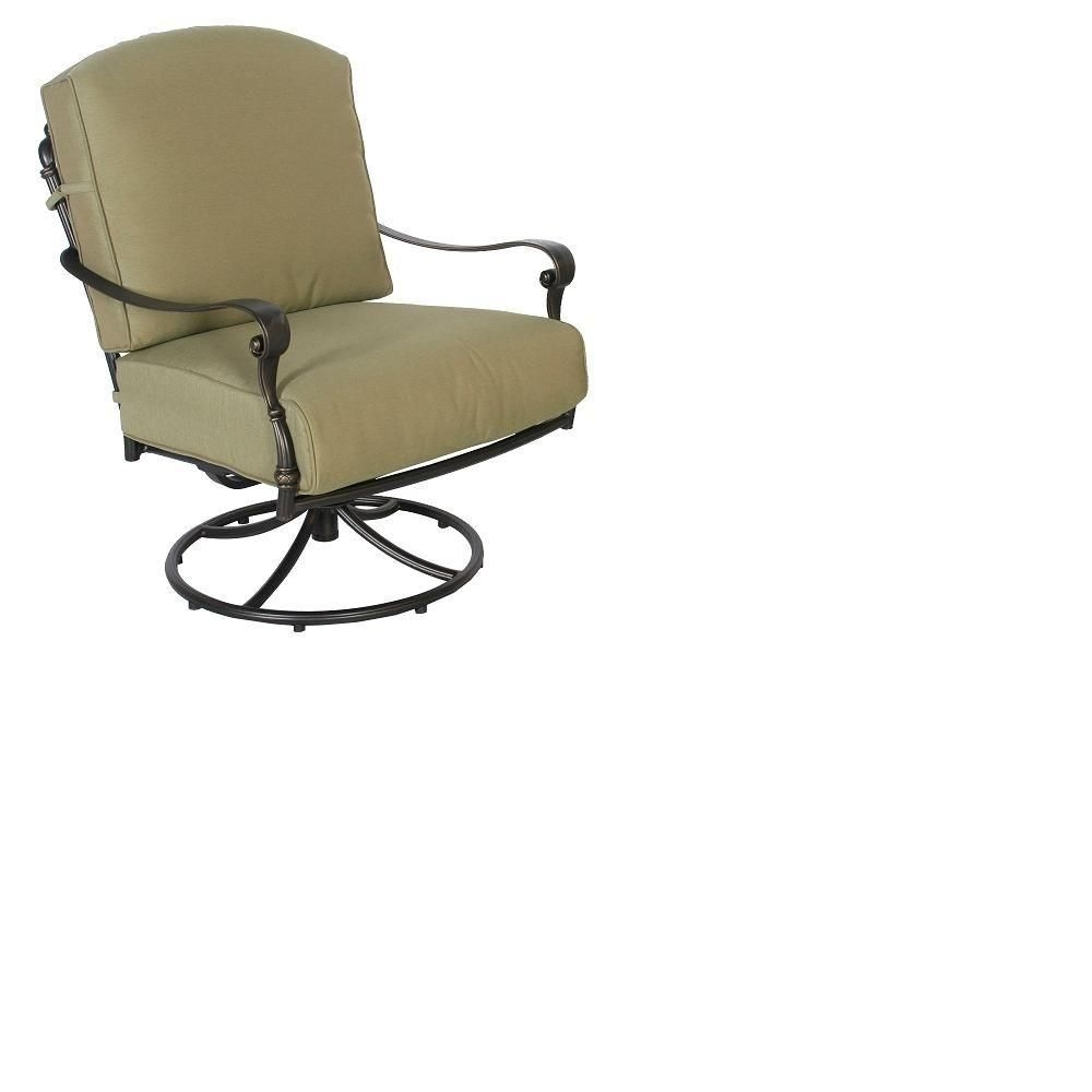 Hampton Bay Edington Swivel Rocker Patio Lounge Chair With Celery Inside Hampton Bay Rocking Patio Chairs (#6 of 15)