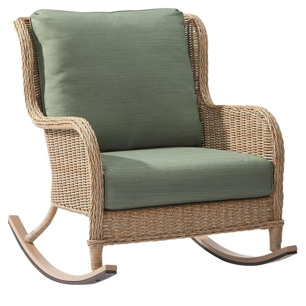 Hampton Bay Lemon Grove Wicker Outdoor Rocking Chair With Surplus With Regard To Hampton Bay Rocking Patio Chairs (#7 of 15)