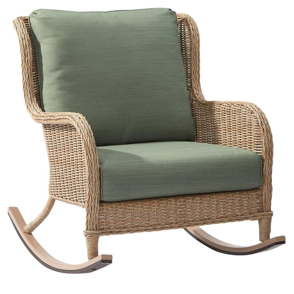 Hampton Bay Lemon Grove Wicker Outdoor Rocking Chair With Surplus Within Wicker Rocking Chairs With Cushions (#6 of 15)