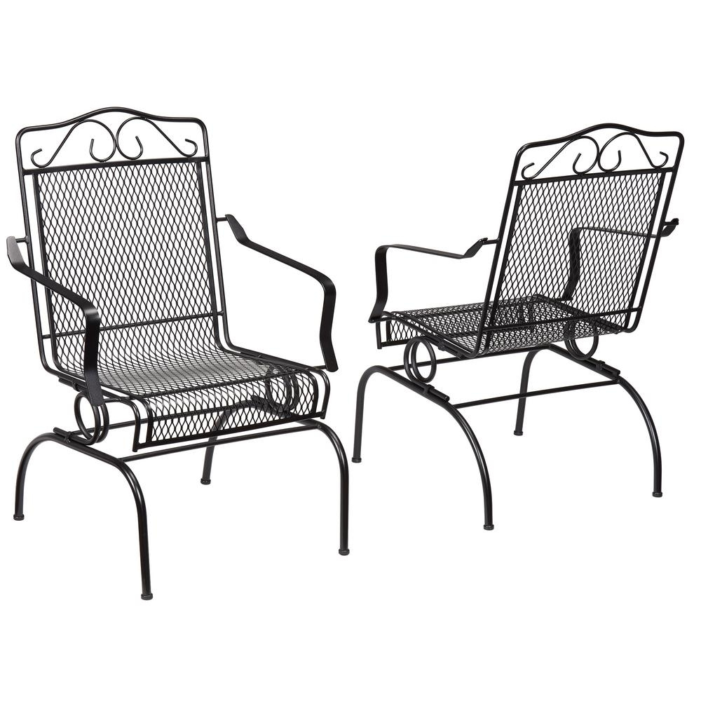 Hampton Bay Nantucket Rocking Metal Outdoor Dining Chair (2 Pack Pertaining To Wrought Iron Patio Rocking Chairs (View 6 of 15)