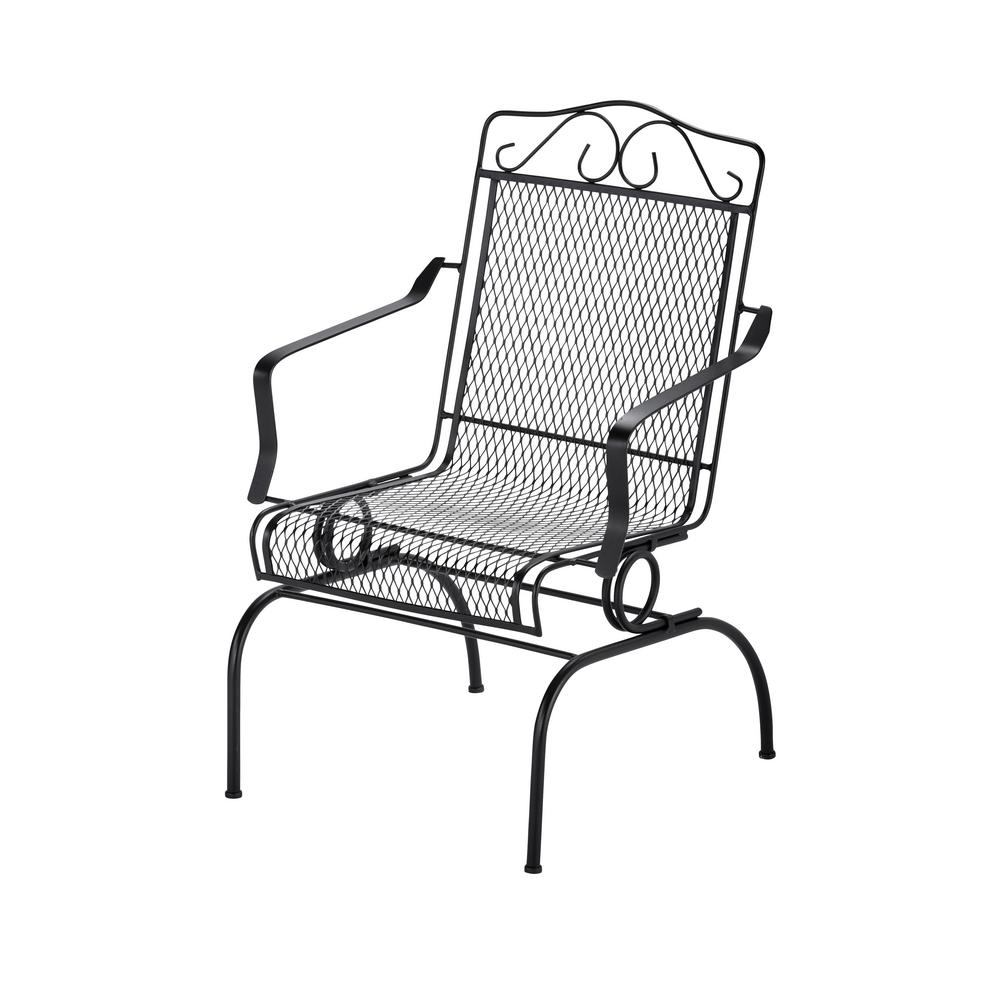 Hampton Bay Nantucket Rocking Metal Outdoor Dining Chair 6991700 Inside Iron Rocking Patio Chairs (#6 of 15)