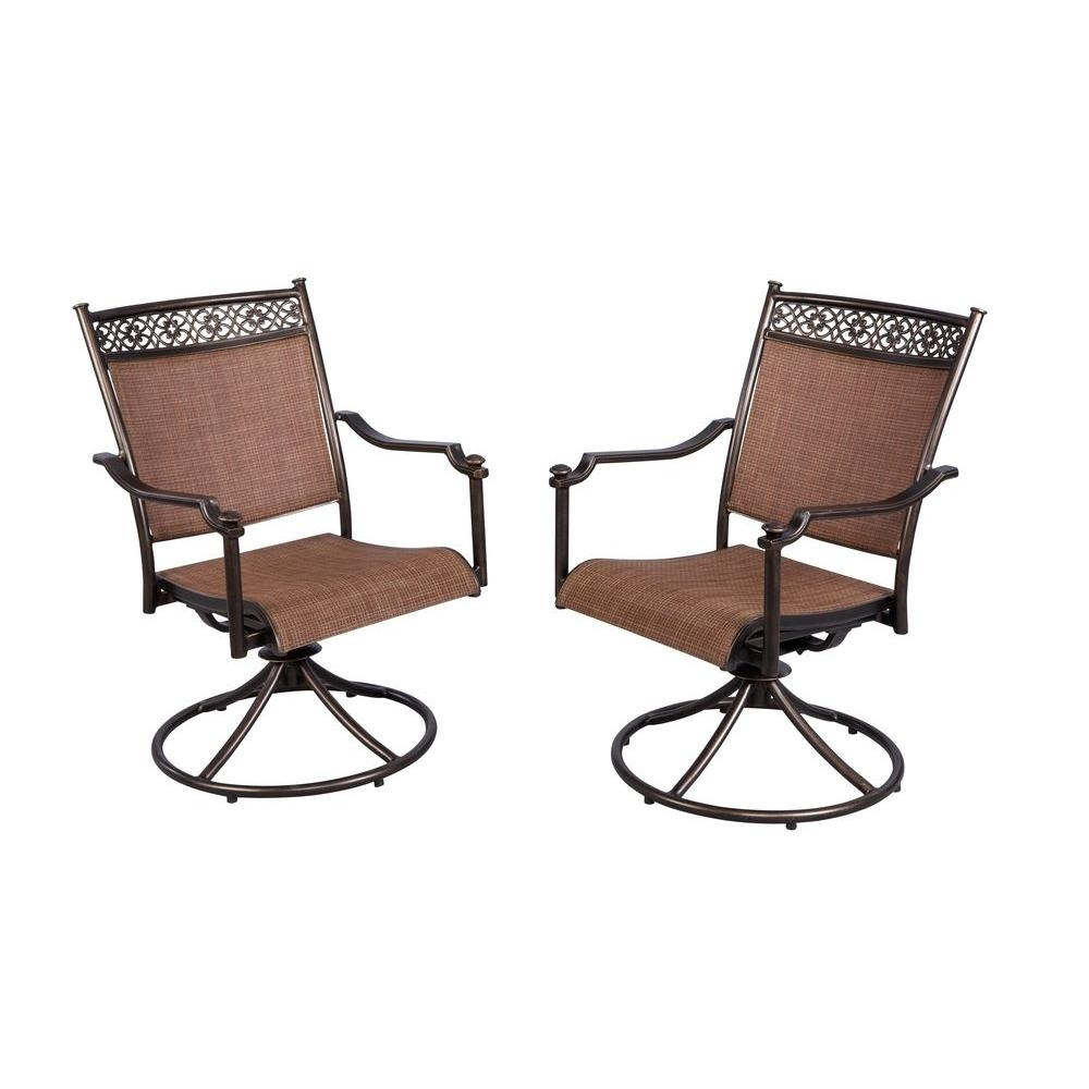 Hampton Bay Niles Park Sling Patio Swivel Rockers (2 Pack) S2 Throughout Patio Sling Rocking Chairs (View 3 of 15)