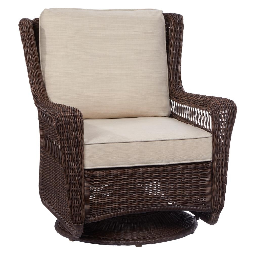 Hampton Bay Park Meadows Brown Swivel Rocking Wicker Outdoor Lounge Within Wicker Rocking Chairs With Cushions (#7 of 15)