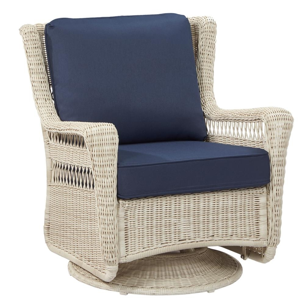 Hampton Bay Park Meadows Off White Swivel Rocking Wicker Outdoor Pertaining To White Wicker Rocking Chairs (#7 of 15)