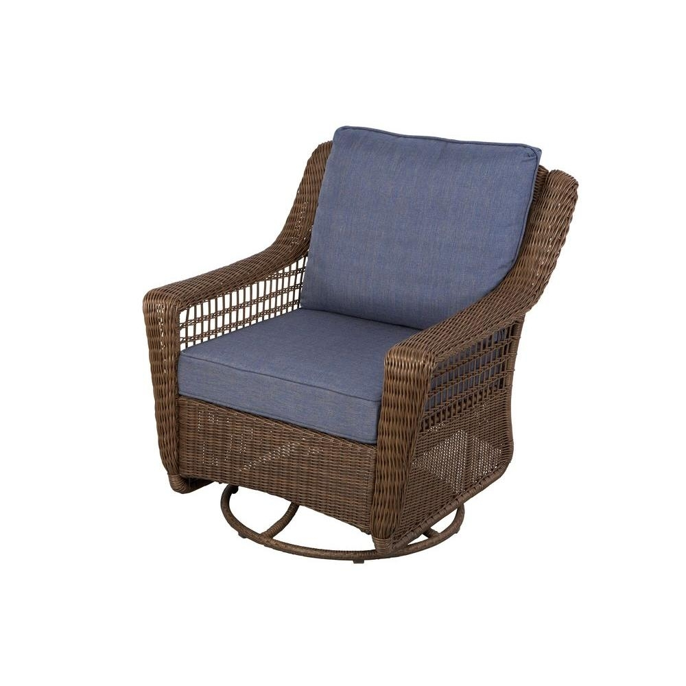 Hampton Bay Spring Haven Brown All Weather Wicker Outdoor Patio Regarding Wicker Rocking Chairs With Cushions (#9 of 15)