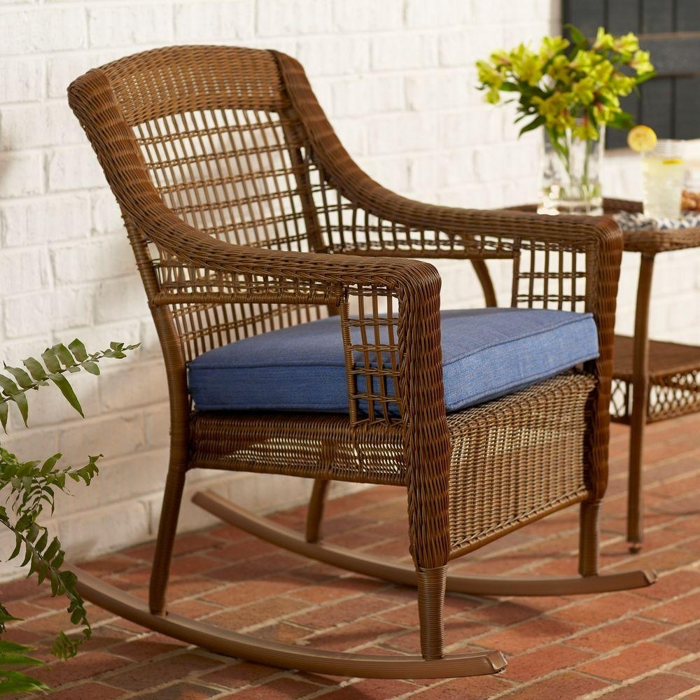 Hampton Bay Spring Haven Brown All Weather Wicker Outdoor Patio Within Patio Rocking Chairs With Cushions (View 5 of 15)