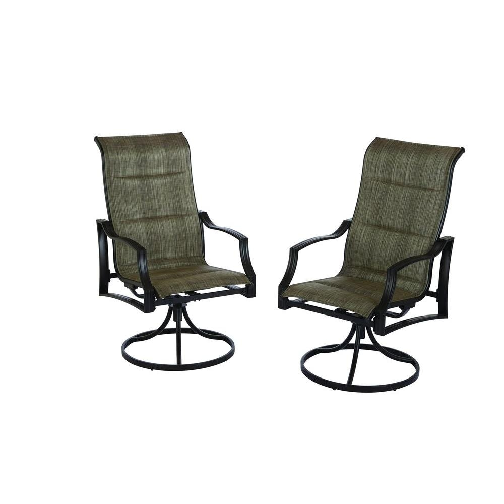 Hampton Bay Statesville Padded Sling Swivel Patio Dining Chair (2 In Patio Rocking Swivel Chairs (#13 of 15)