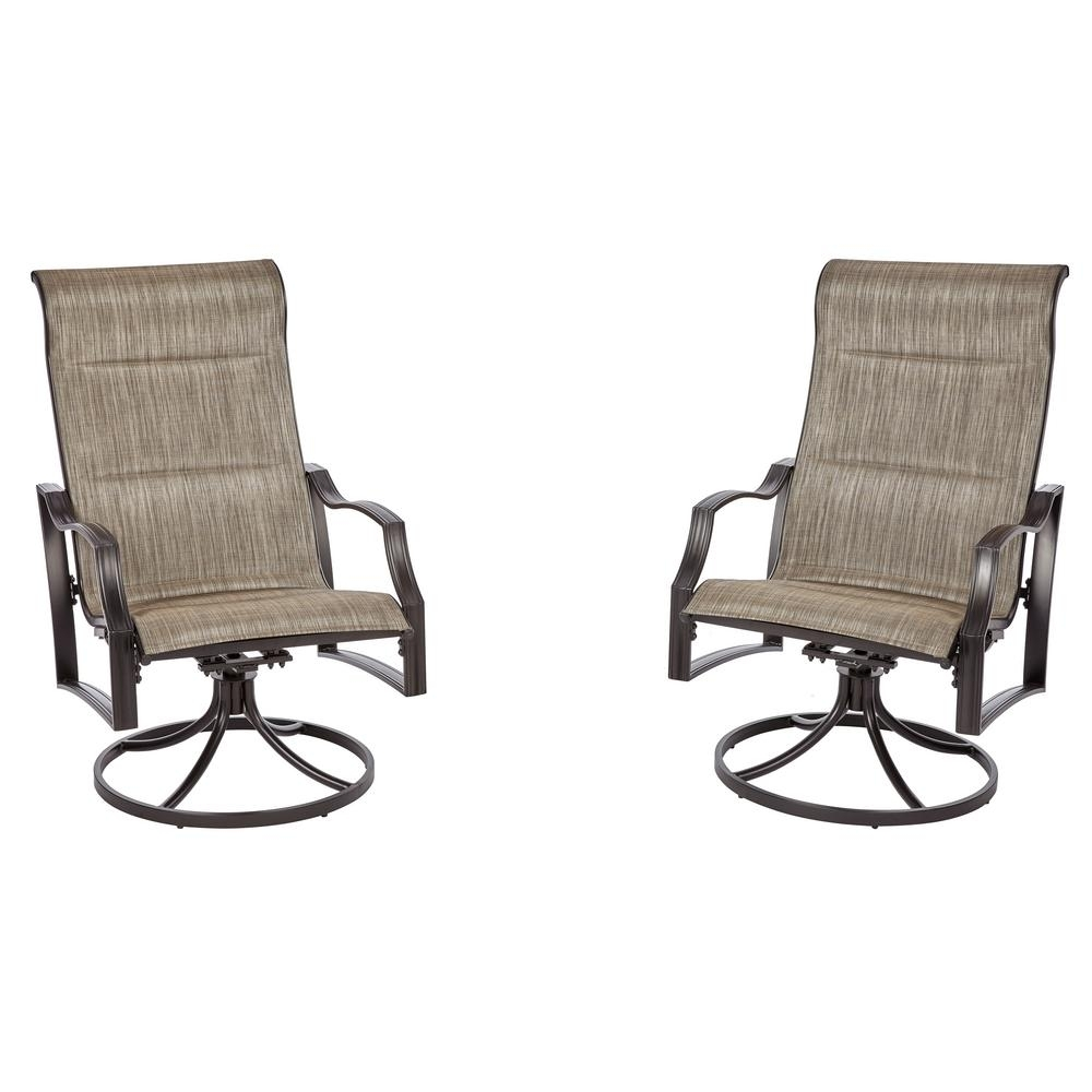 Hampton Bay Statesville Pewter Swivel Aluminum Sling Outdoor Lounge Throughout Patio Sling Rocking Chairs (View 6 of 15)