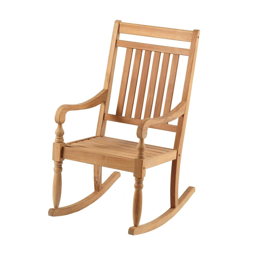 Hampton Bay Teak Rocking Chair It 130752T – The Home Depot Inside Rocking Chairs At Home Depot (View 7 of 15)