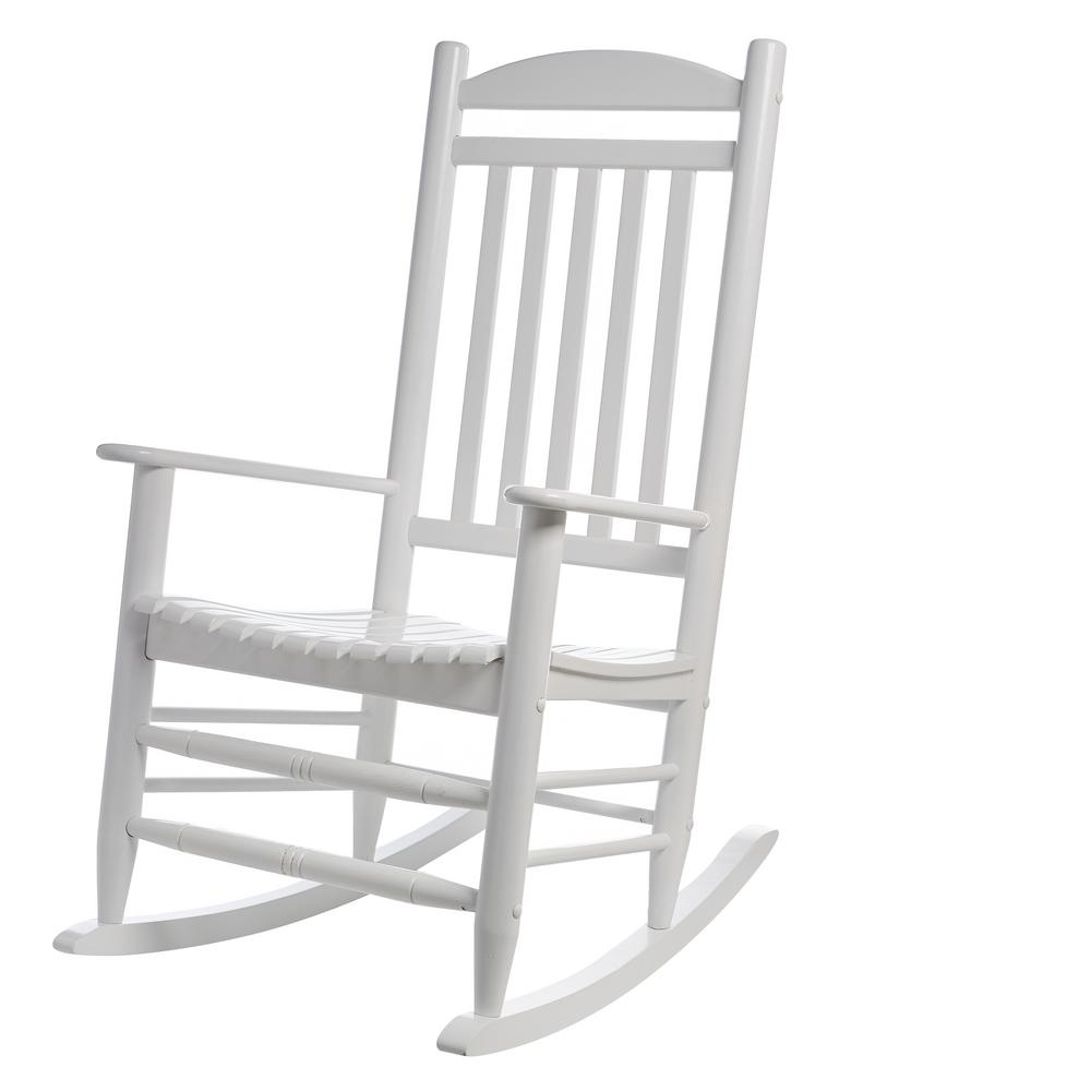Hampton Bay White Wood Outdoor Rocking Chair 1. (View 8 of 15)