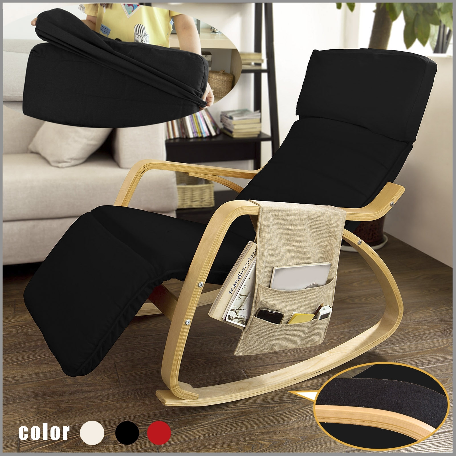 Haotiangroup: Haotian Black Comfortable Relax Rocking Chair With Pertaining To Rocking Chairs With Footrest (#5 of 15)