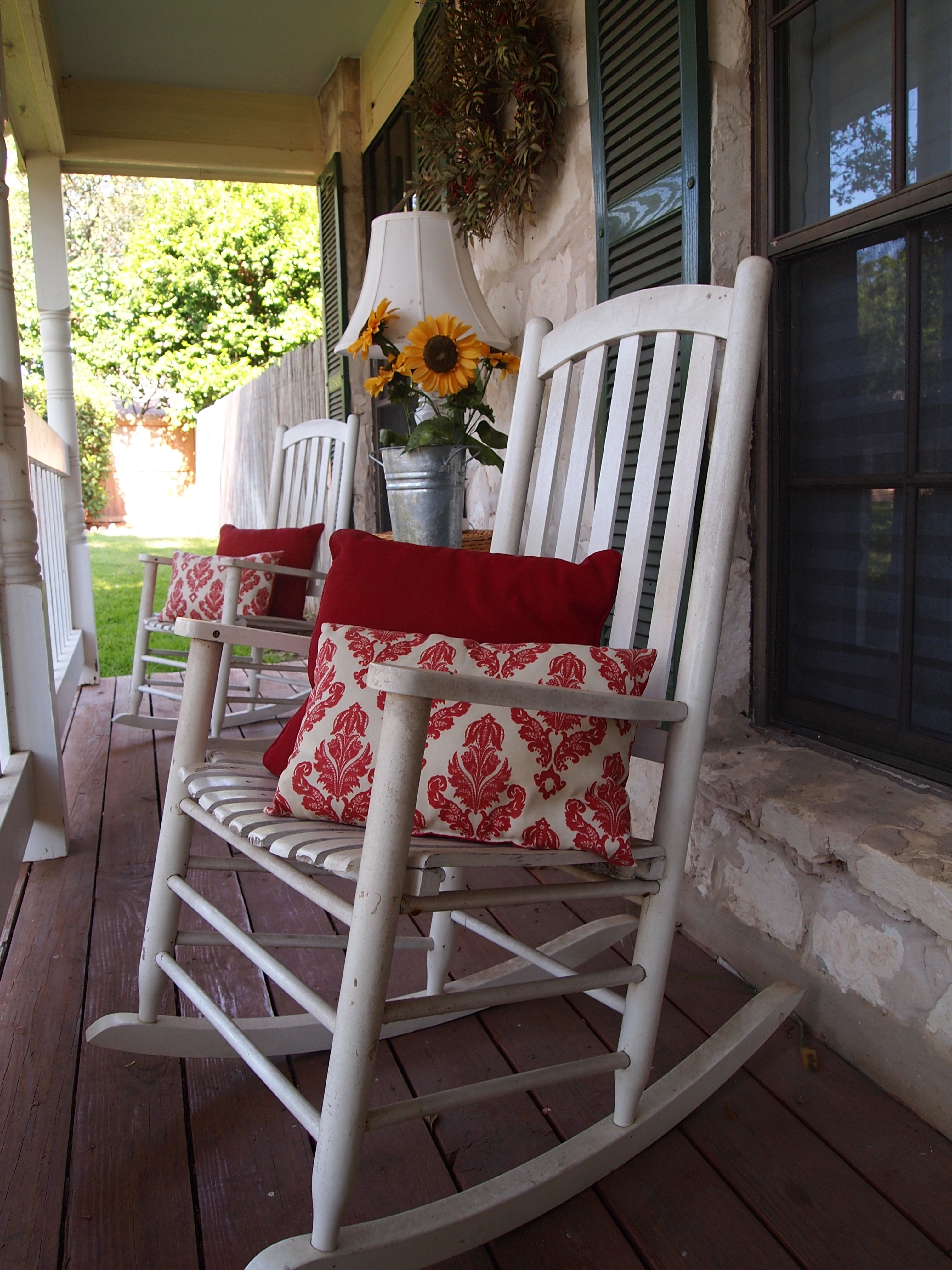 Height Back White Oak Wood Porch Rocking Chairs Which Slicked Up Regarding Rocking Chairs For Front Porch (#9 of 15)