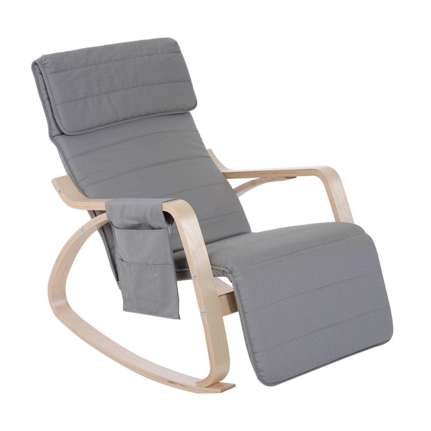 Homcom Rocking Chair W/adjustable Footrest & Side Pocket Grey For Rocking Chairs With Footrest (#7 of 15)