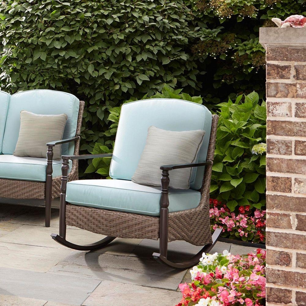 Home Decorators Collection Bolingbrook Rocking Wicker Outdoor Patio Pertaining To Patio Rocking Chairs Sets (#5 of 15)