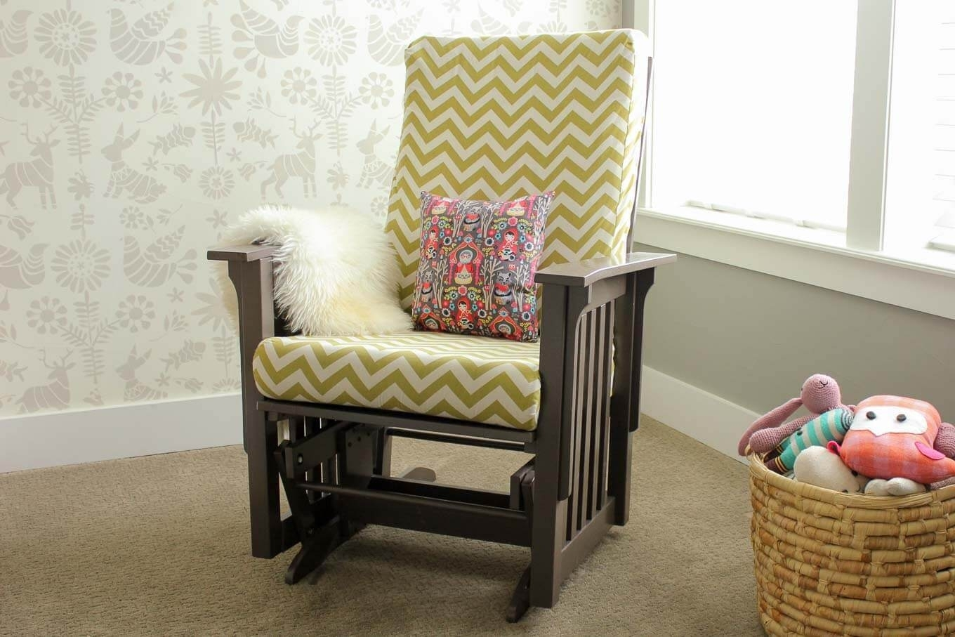 How To Recover A Glider Rocking Chair – Photo Tutorial Pertaining To Rocking Chairs With Ottoman (#9 of 15)