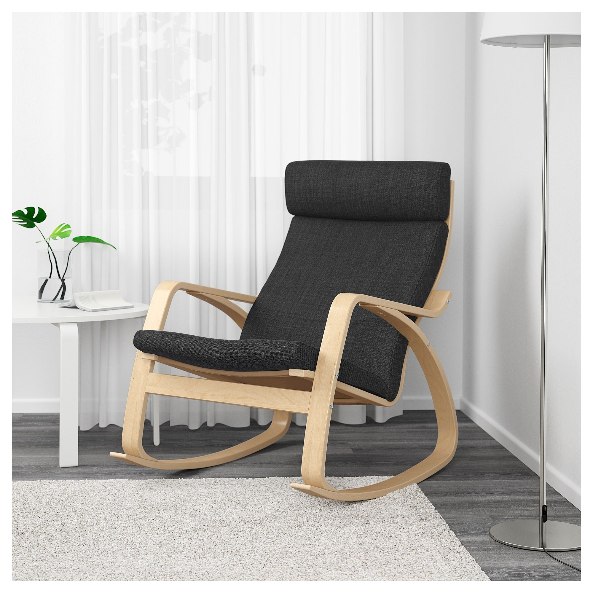 Ikea – Poäng Rocking Chair Birch Veneer, Hillared Anthracite Intended For Ikea Rocking Chairs (#6 of 15)