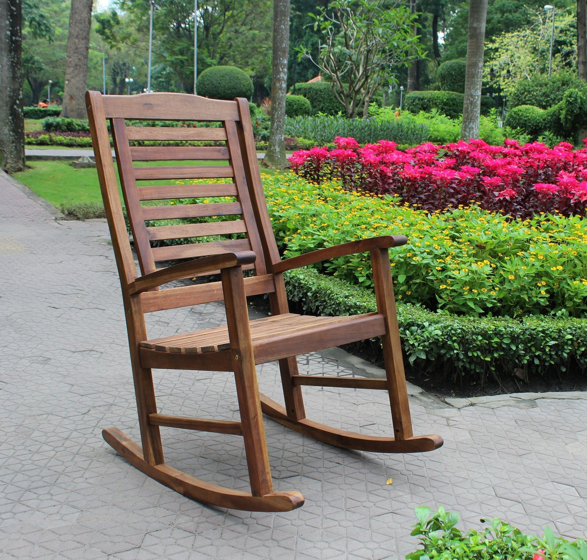 International Caravan Acacia Trinidad Porch Rocker Vf 4109 Intended For Patio Wooden Rocking Chairs (#8 of 15)