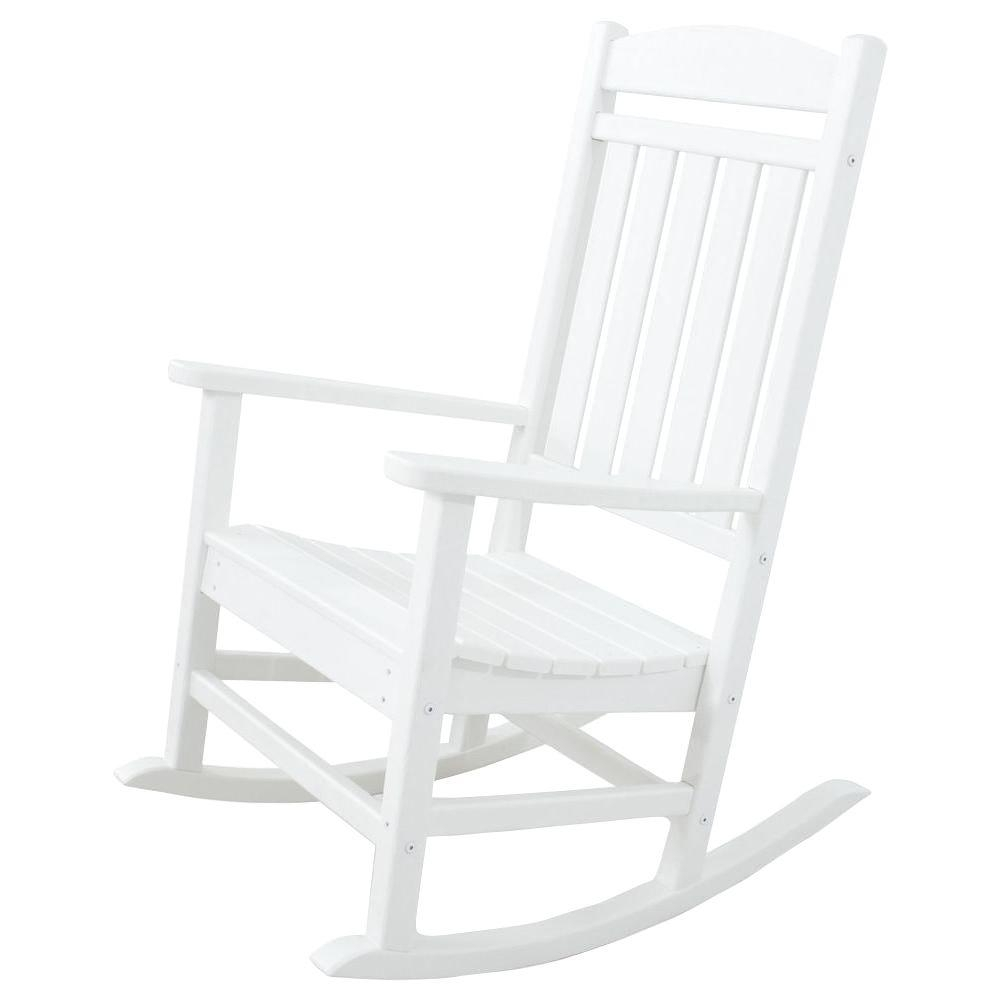 Ivy Terrace Classics White Patio Rocker Ivr100Wh – The Home Depot For White Patio Rocking Chairs (#7 of 15)