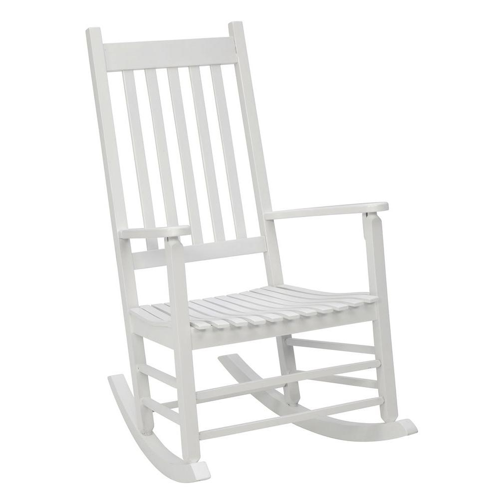 Jack Post White Mission Patio Rocker 08100877 – The Home Depot Pertaining To White Patio Rocking Chairs (#8 of 15)