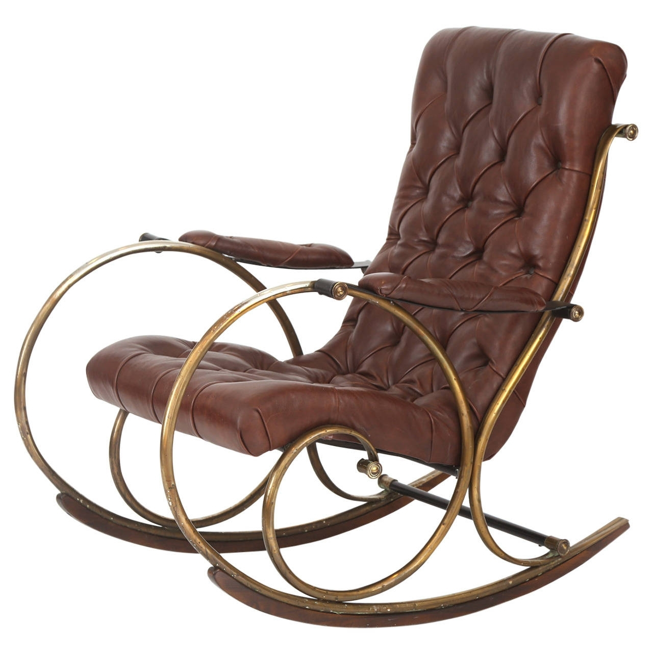 Leather Brass And Wood Rocking Chairwoodard For Sale At 1stdibs For Patio Wooden Rocking Chairs (View 9 of 15)