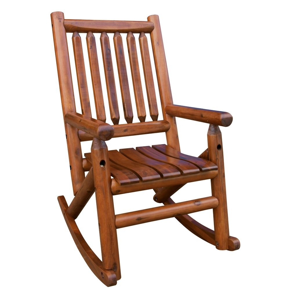 Leigh Country Amberlog Patio Rocking Chair Tx 36000 – The Home Depot Within Rocking Chairs (#6 of 15)