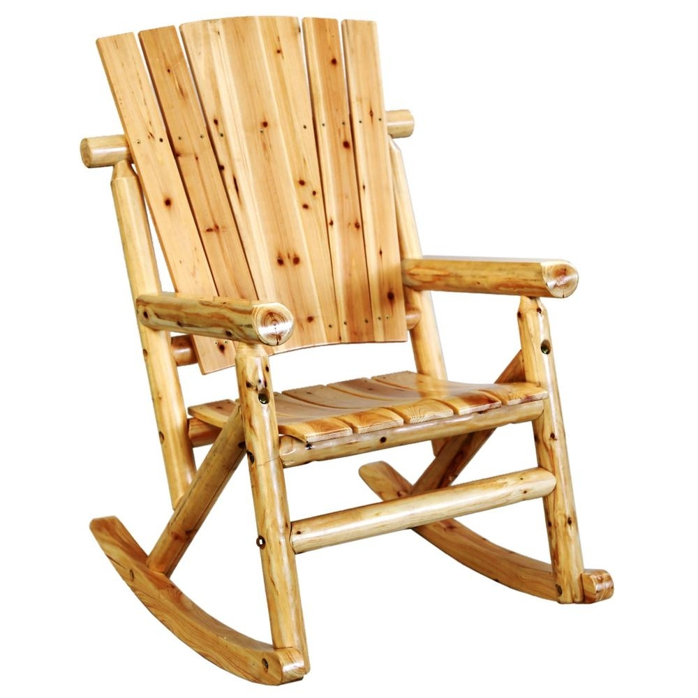 Leigh Country Aspen Wood Outdoor Rocking Chair Tx 95100 – The Home Depot With Regard To Rocking Chairs For Outside (#10 of 15)