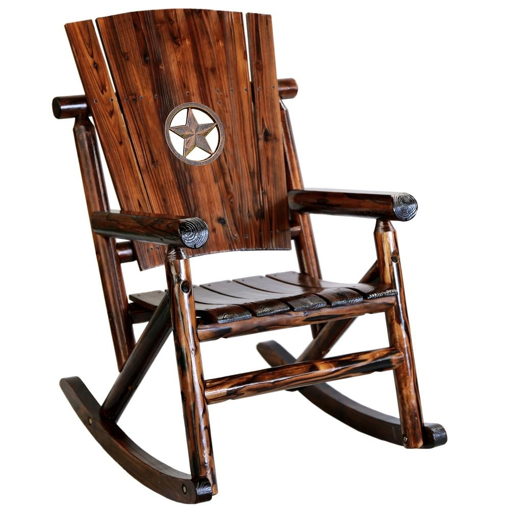 Leigh Country Char Log Wood Patio Rocking Chair With Star Medallion Intended For Char Log Patio Rocking Chairs With Star (#6 of 15)