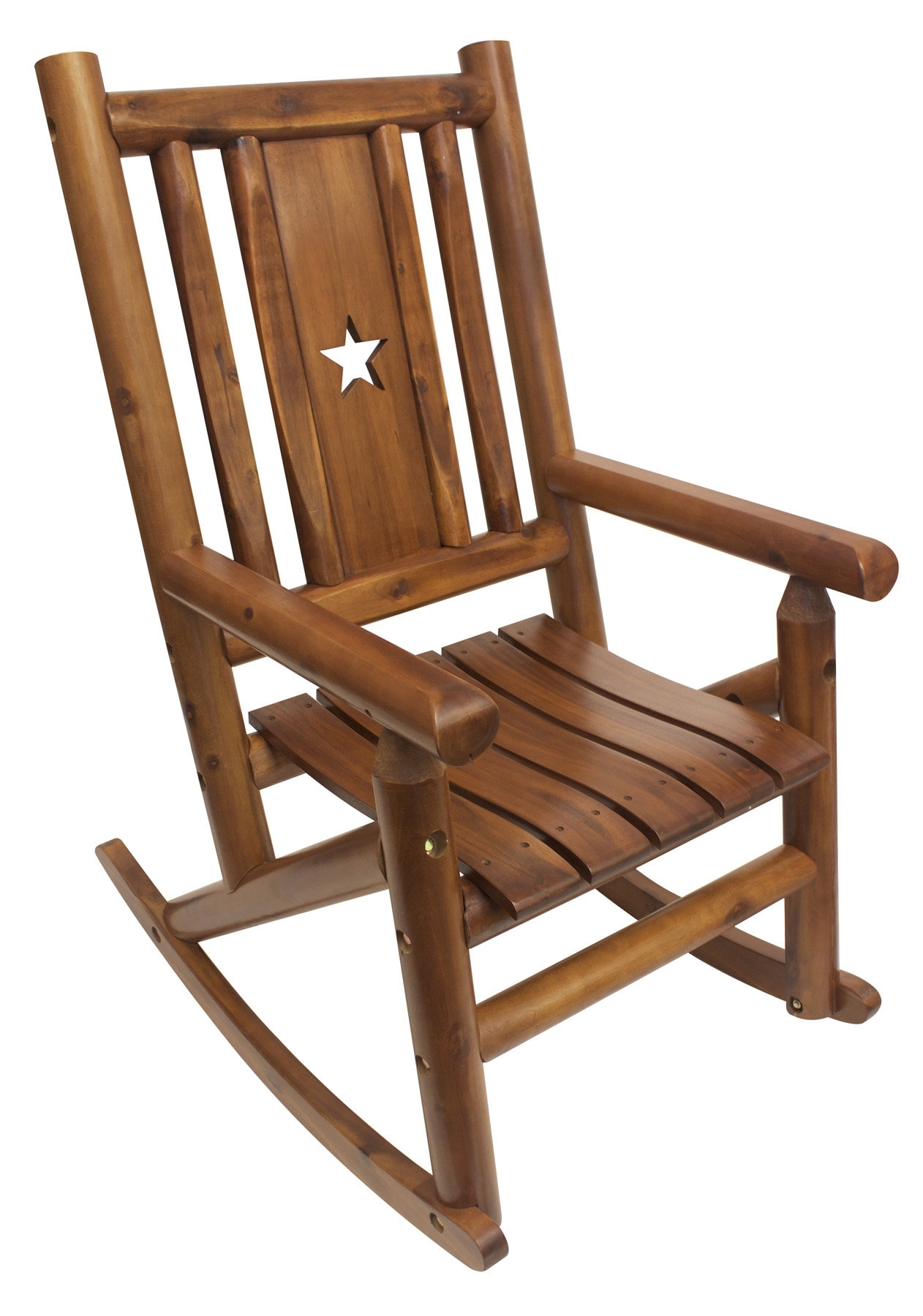 Leighcountry Amber Log Star Single Porch Rocking Chair | Wayfair Inside Char Log Patio Rocking Chairs With Star (#10 of 15)