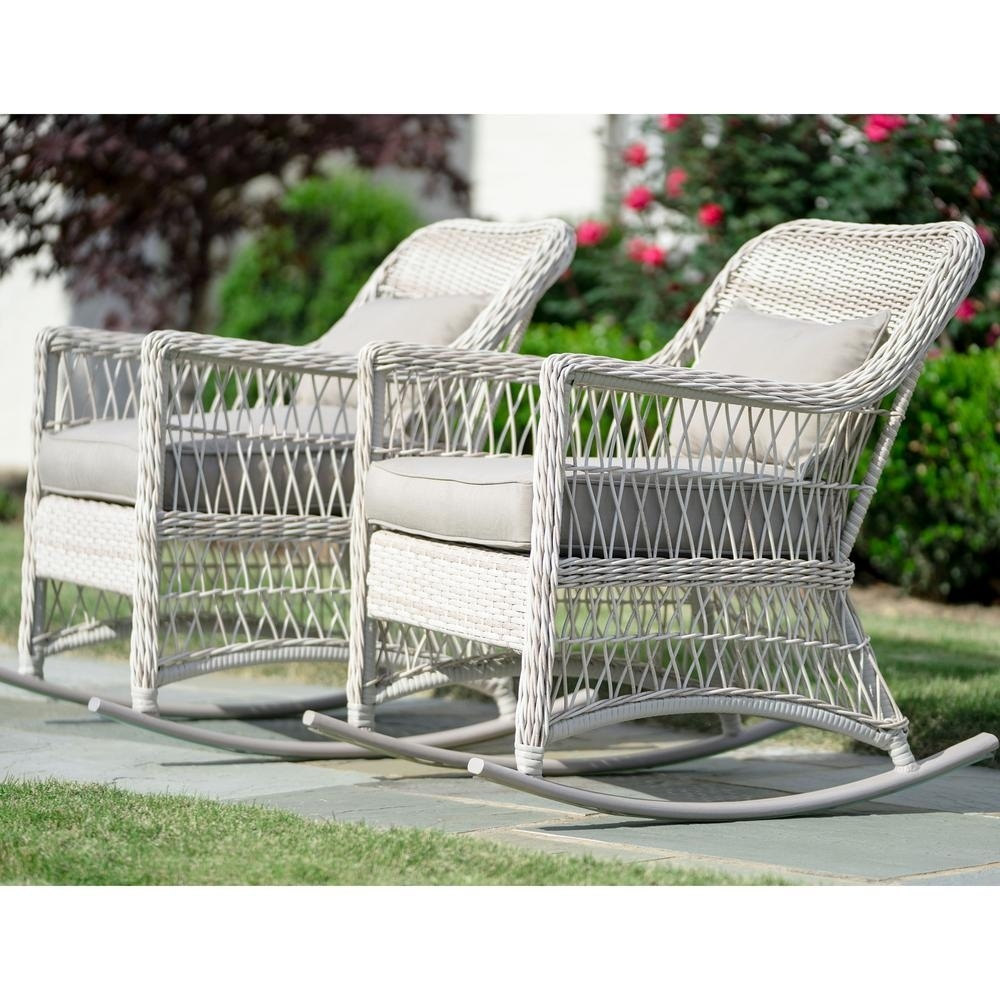 Leisure Made Pearson Antique White Wicker Outdoor Rocking Chair With Regarding Antique Wicker Rocking Chairs With Springs (#10 of 15)