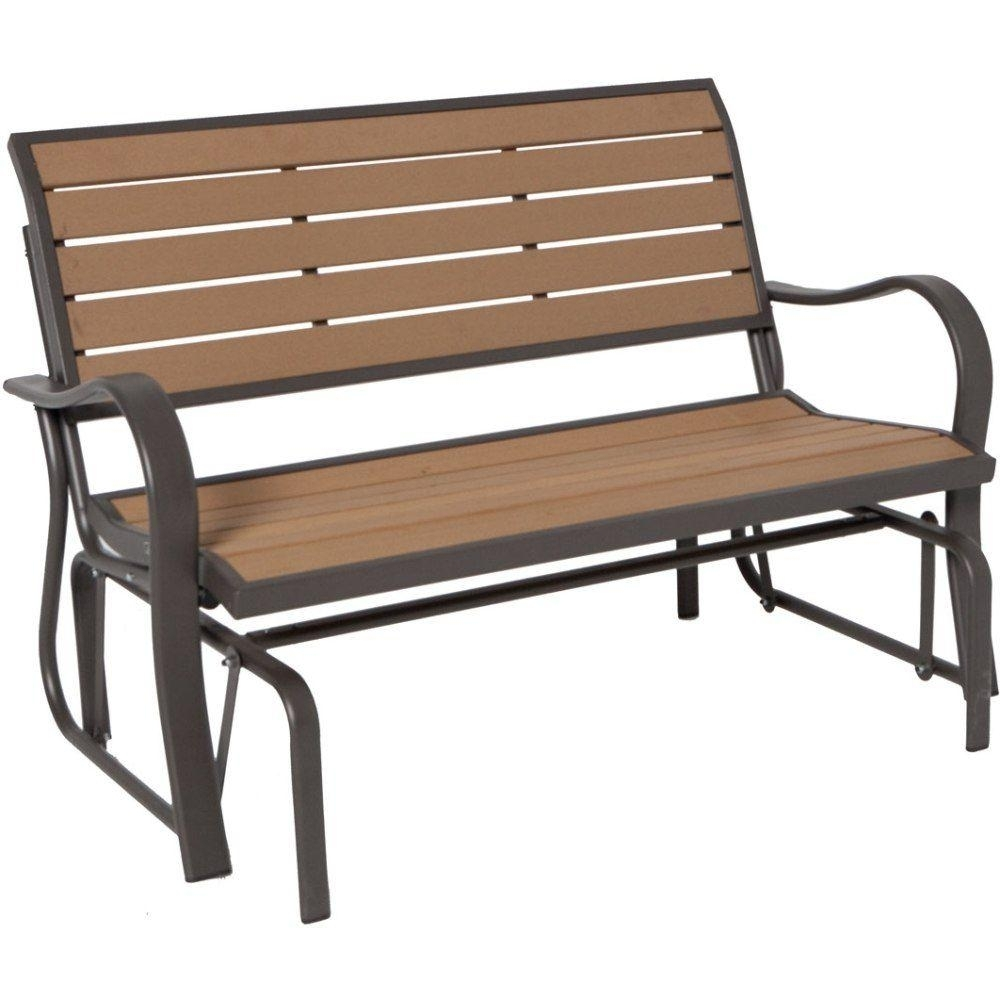Inspiration about Lifetime Wood Alternative Patio Glider Bench 60055 – The Home Depot Throughout Patio Furniture Rocking Benches (#6 of 15)