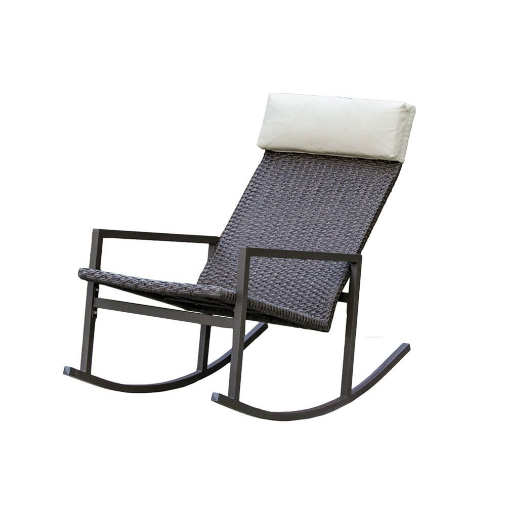Living Express Stone Harbor Outdoor Rattan Wicker Rocking Chair Inside Rattan Outdoor Rocking Chairs (View 7 of 15)