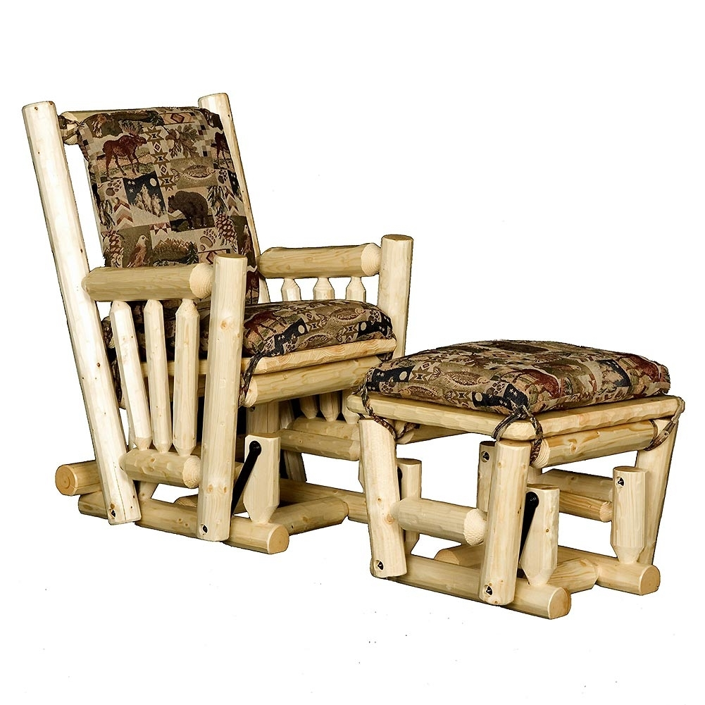 Inspiration about Log Glider Rocking Chair And Ottoman: Cabin Place With Rocking Chairs With Ottoman (#5 of 15)