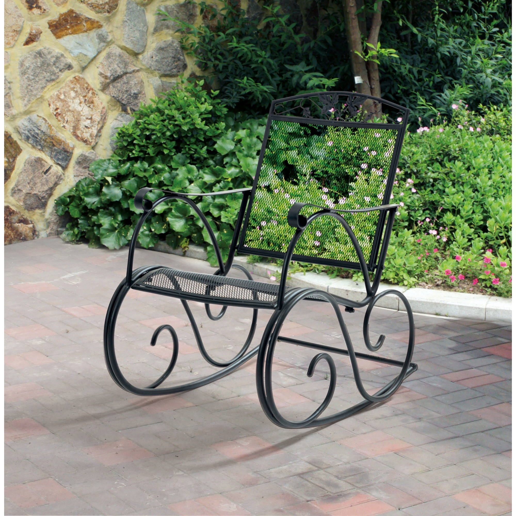 Inspiration about Mainstays Jefferson Outdoor Wrought Iron Porch Rocking Chair Within Wrought Iron Patio Rocking Chairs (#9 of 15)