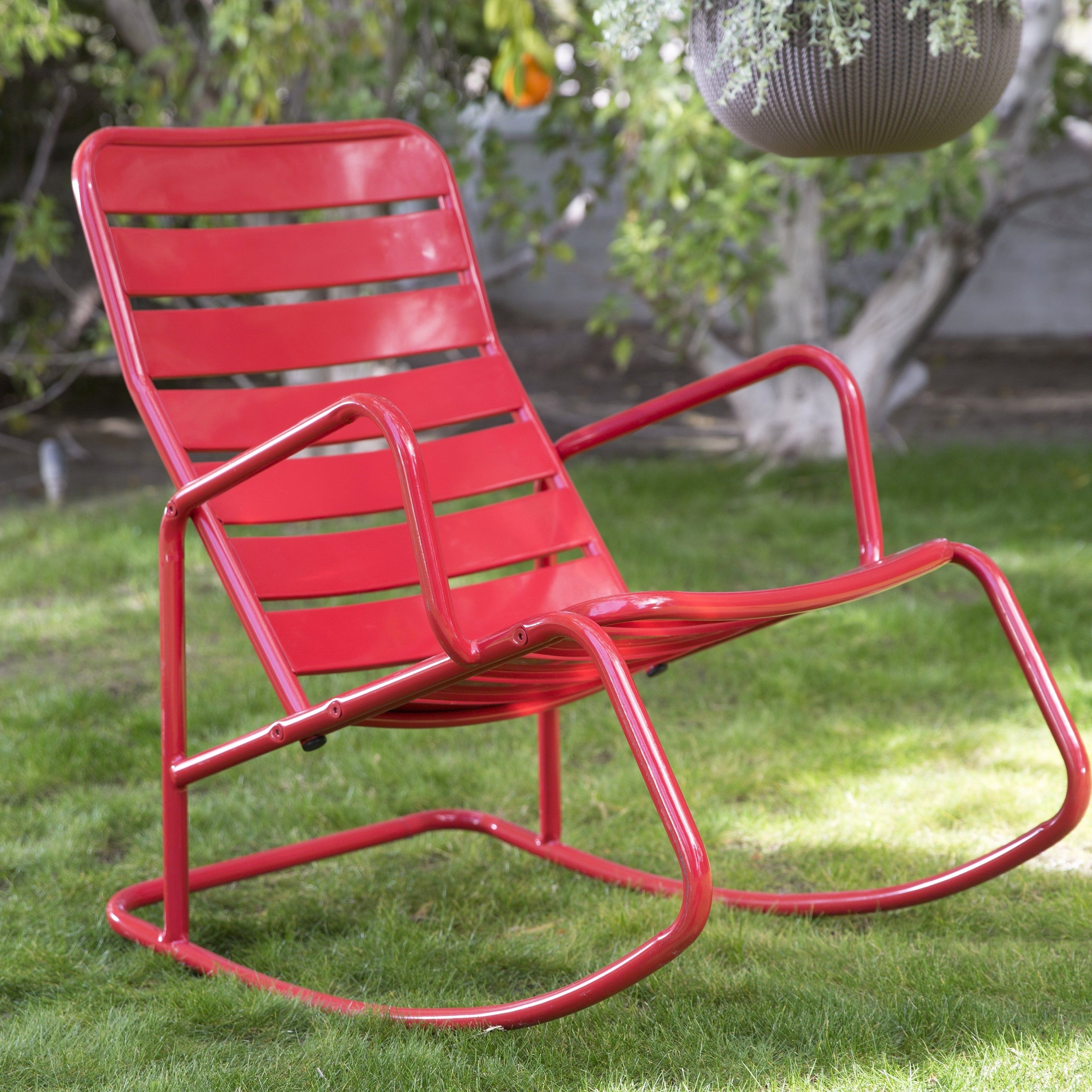 Metal Patio Rocking Chairs Elegant Wicker Patio Rocker Best Outdoor Within Red Patio Rocking Chairs (View 7 of 15)