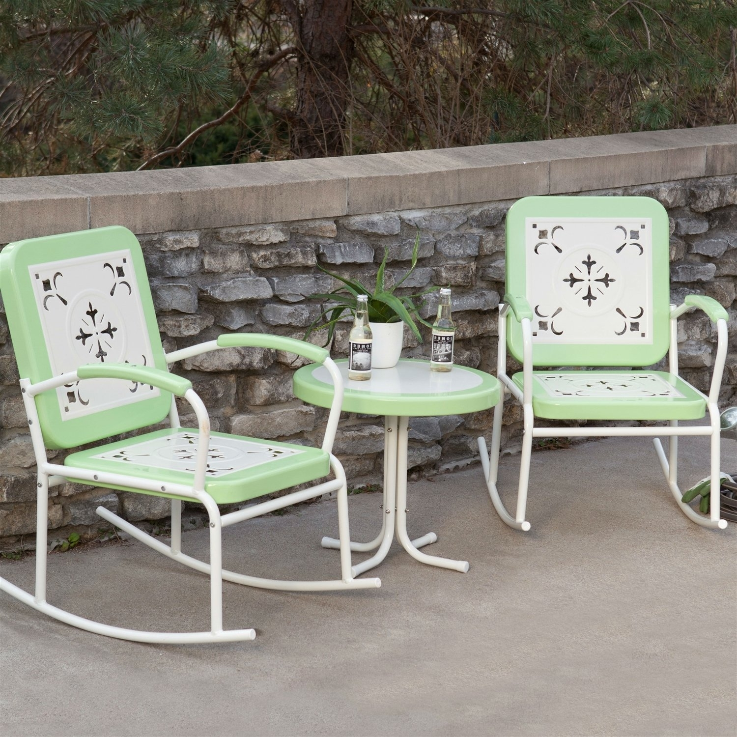 Mint Green Retro Patio 3 Piece Metal Rocker Rocking Chair Set | Products With Patio Rocking Chairs Sets (#8 of 15)