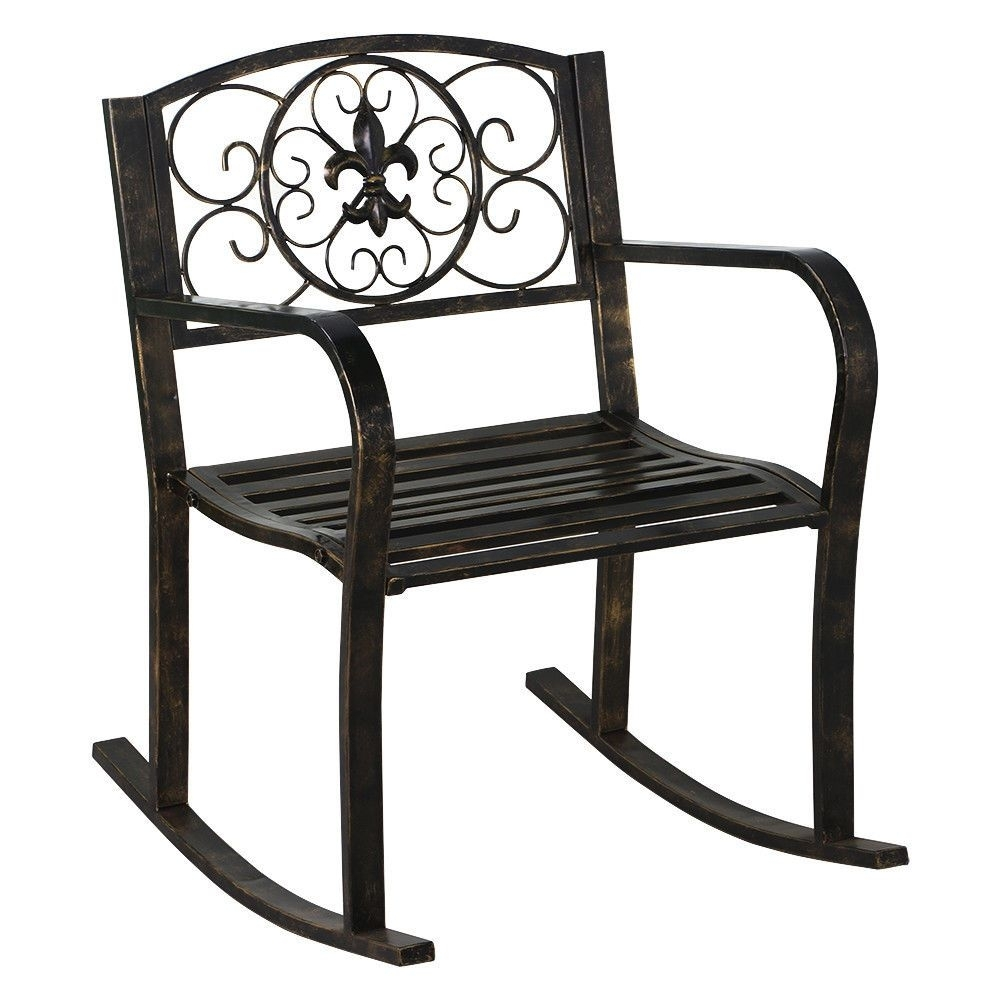 New Patio Metal Rocking Chair Porch Seat Deck Outdoor Backyard Regarding Patio Metal Rocking Chairs (View 11 of 15)