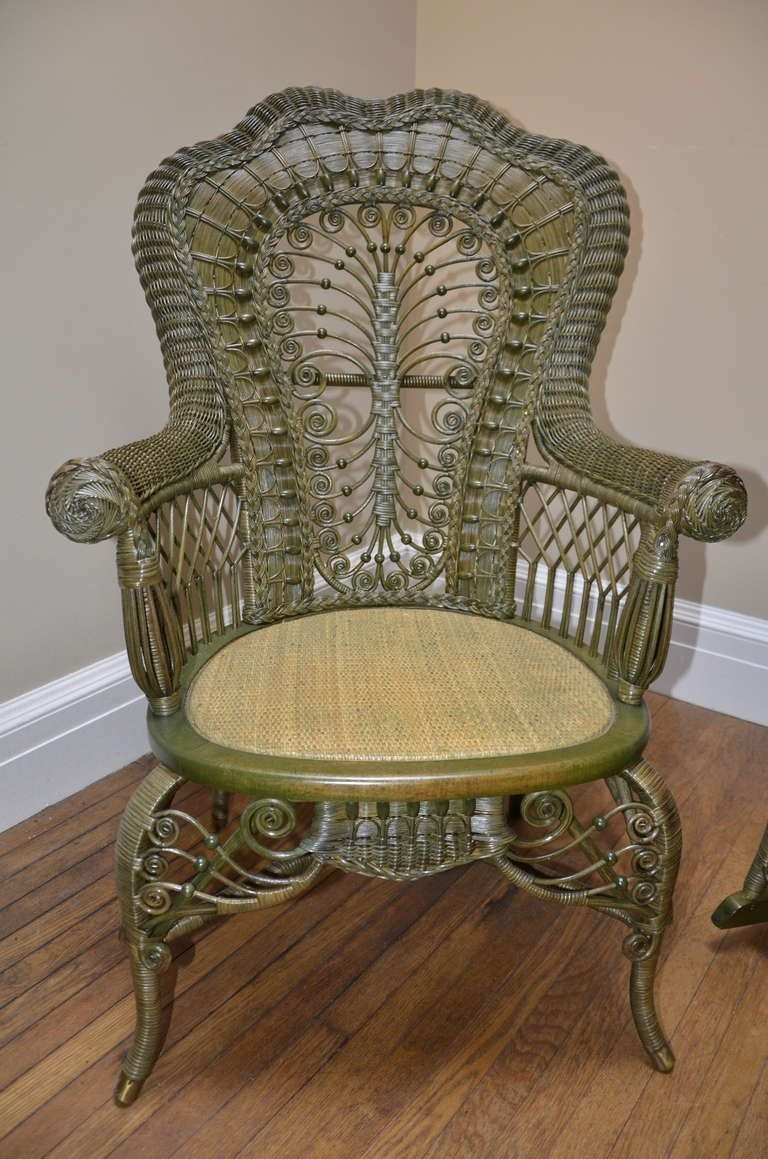 Ornate Victorian Antique Wicker Chair And Rocker | Wicker Pertaining To Antique Wicker Rocking Chairs (#11 of 15)