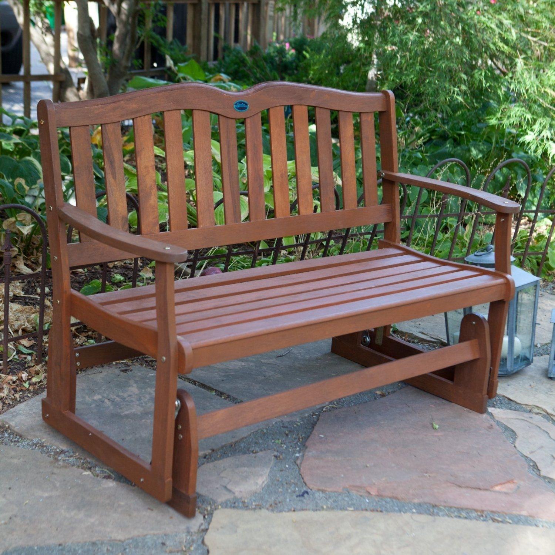 Outdoor Glider Wooden Bench Eucalyptus Garden Patio 2 Seater Rocking Regarding Patio Furniture Rocking Benches (View 11 of 15)