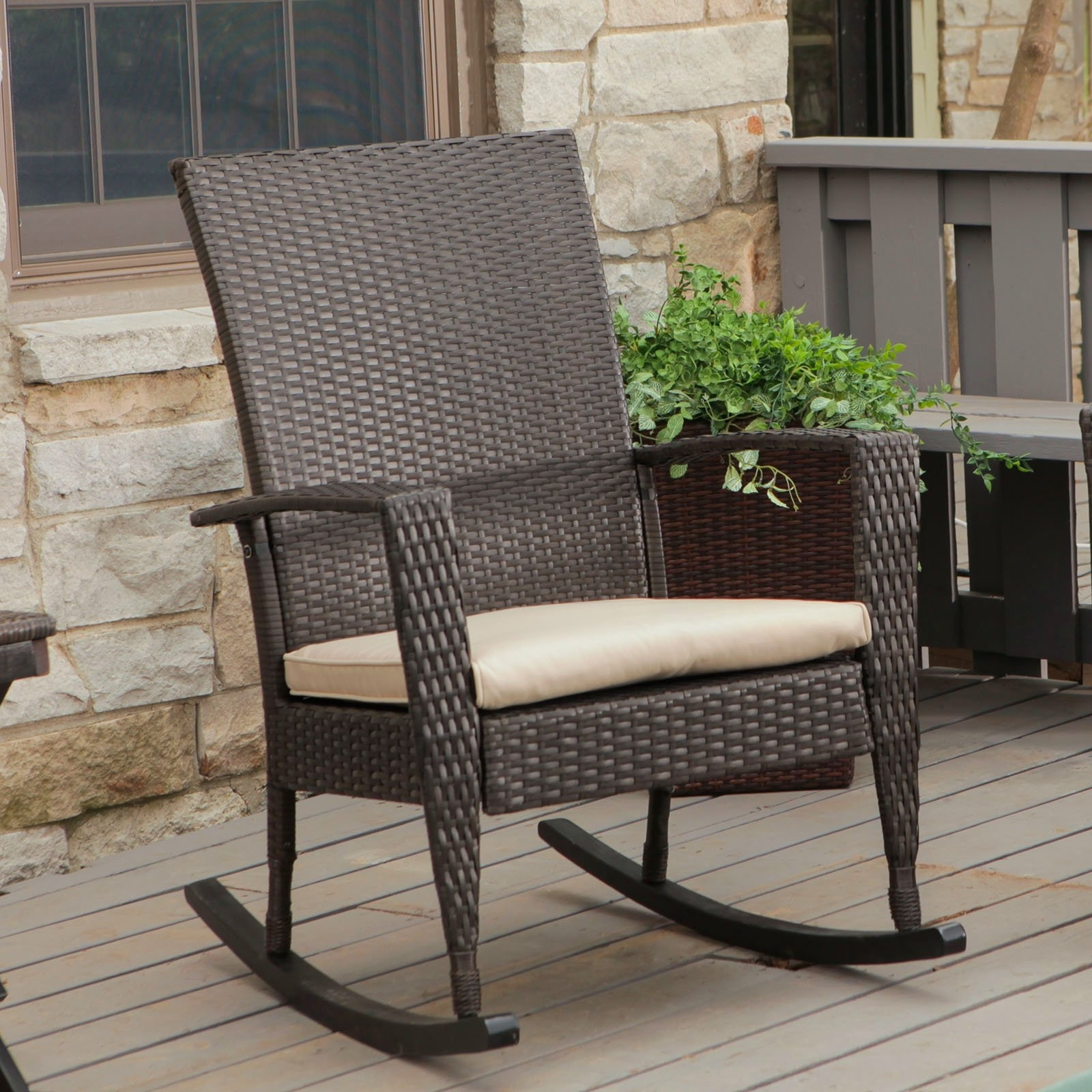 Outdoor Wicker Rocking Chairs Design — Wilson Home Ideas : How Oil Regarding Patio Furniture Rocking Benches (View 12 of 15)