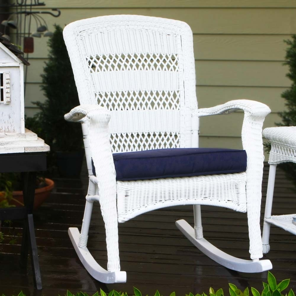 Outdoor Wicker Rocking Chairs – Wicker Within White Resin Patio Rocking Chairs (#7 of 15)