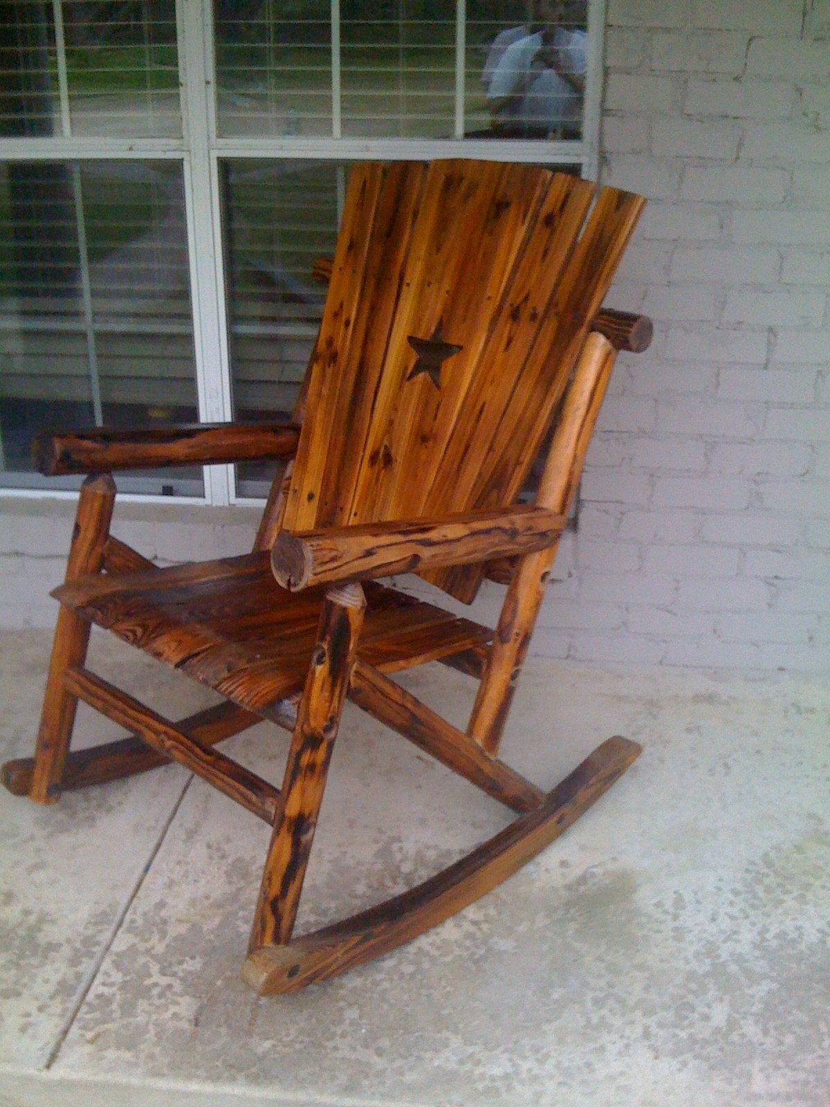 Outdoor Wooden Rocking Chairs Rustic : Pleasure Outdoor Wooden Inside Retro Outdoor Rocking Chairs (#9 of 15)