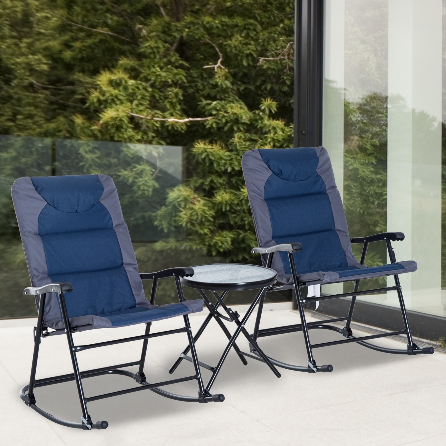 Outsunny 3 Piece Folding Outdoor Rocking Chair And Table Set Patio Inside Outdoor Rocking Chairs With Table (#8 of 15)