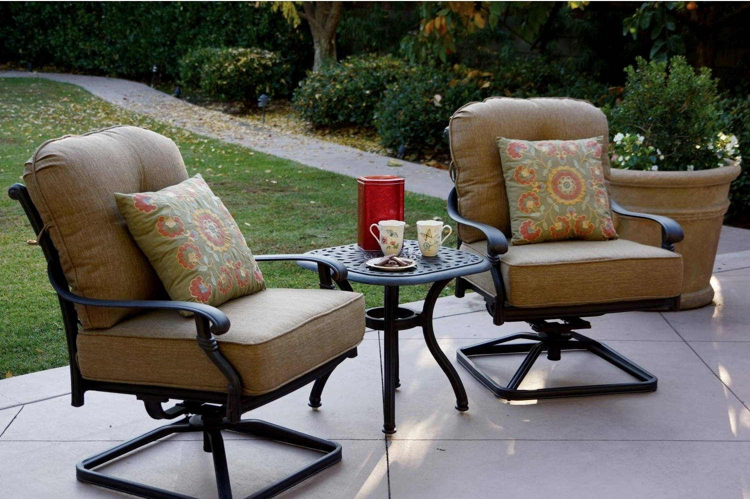 Patio Furniture Cast Aluminum Deep Seating Rocker Set Swivel Club Inside Patio Rocking Chairs Sets (View 9 of 15)