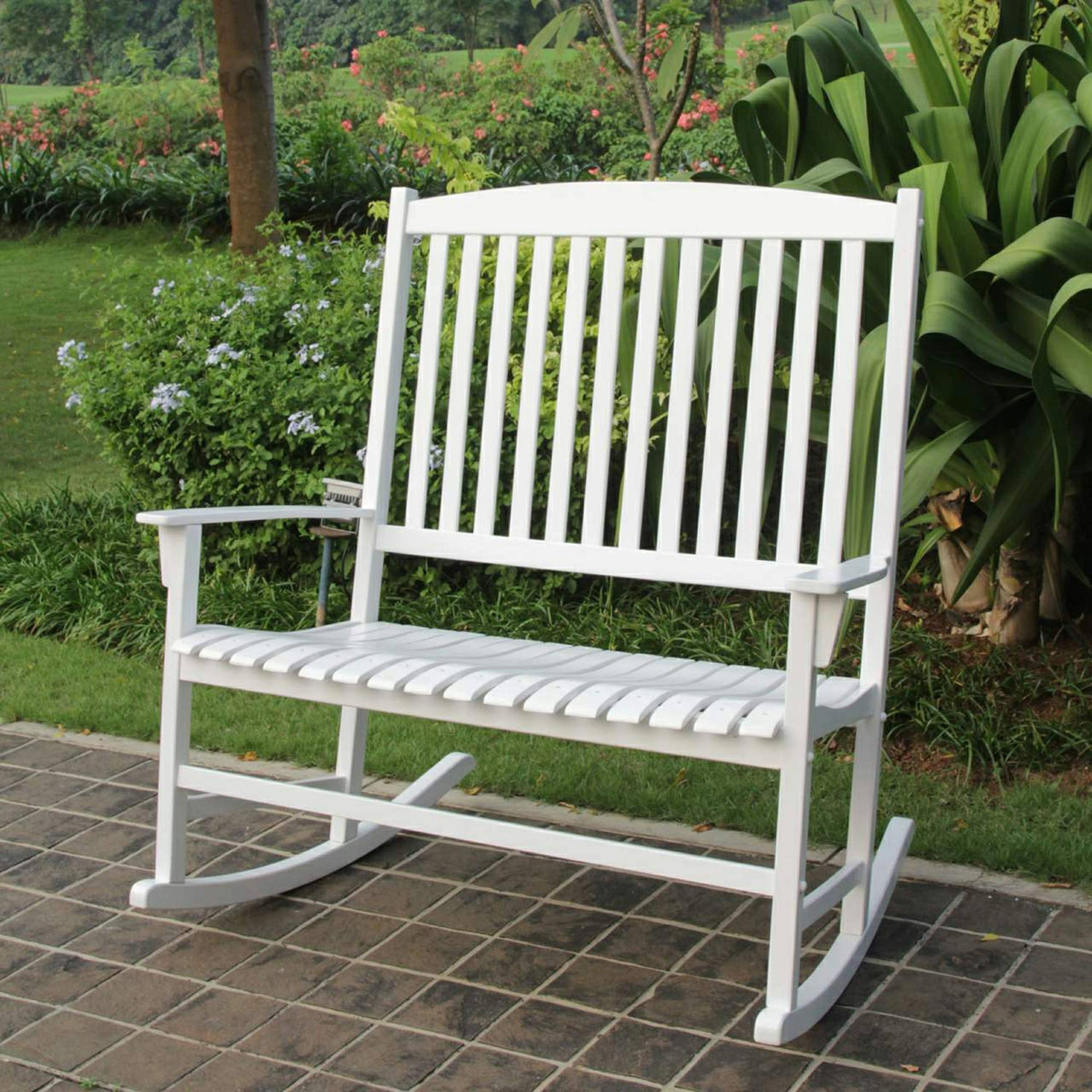 Patio Loveseat White Hardwood Outdoor Rocking Chair For 2 Inside Patio Wooden Rocking Chairs (#14 of 15)